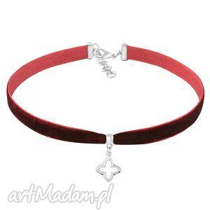 choker - burgundy velvet, aksamit, choker, zawieszka naszyjniki biżuteria