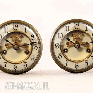 kolczyki stare zegary - sztyfty, kolczyki, zegar, vintage, prezent