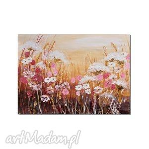 Łąka, polne kwiaty, obraz ręcznie malowany - łąka, kwiaty, obraz