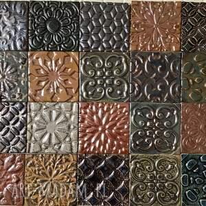 ceramika zestaw kafli ceramicznych in gold, płytki ceramiczne, ręcznie