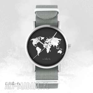 ręcznie zrobione zegarki zegarek, bransoletka - mapa świata szary, nato