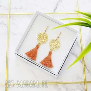 pomysł jaki prezent pod choinkę Kolczyki z chwostami Boho Rozetki - Orange (złote)