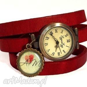 ręcznie wykonane zegarki walentynkowe inicjały - zegarek/bransoletka na skórzanym pasku