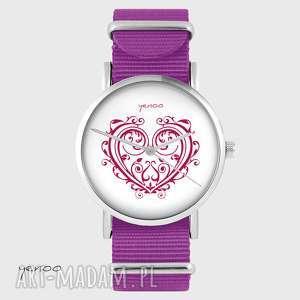 Prezent Zegarek - Serce ornamentowe amarant, nato, zegarek, bransoletka, serce