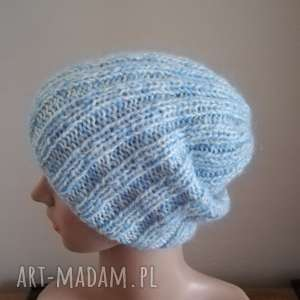 Chmurki czapka, rękodzieło, melanż, zima, ściągacz, druty