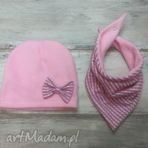 ciepły zimowy komplet czapka i trójkąt, szalik polar, komin