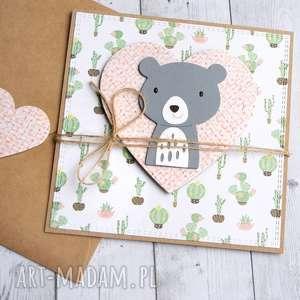 Miś kaktusek:: kartka na roczek, urodziny kartki kaktusia miś