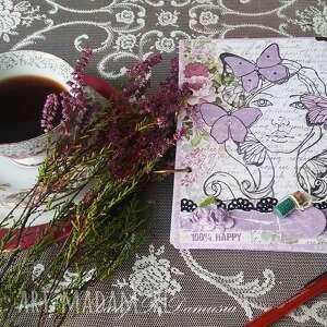 Notes pamiętnik z okazji urodzin dziewczyna motylami
