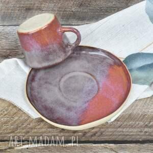 ceramika filiżanka espresso ze spodkiem, ceramika, czarka, kubeczek, różowy