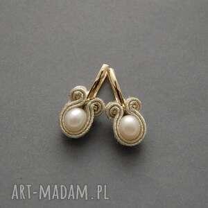 kolczyki sutasz z perłami, sznurek, delikatne, wieczorowe, eleganckie, wyjściowe