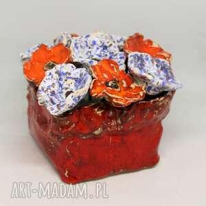 ceramika kwiaty ceramiczne piękny duży wyjątkowy komplet z boxem rozmiar l
