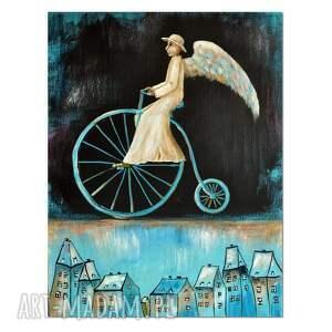 anioł cyklista, obraz ręcznie malowany, obraz, anioł, ręcznie, malowany