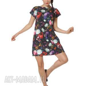 Sukienka w piękne kwiaty bawełna Dutch Roses Trikot, polska-marka, bawełna,