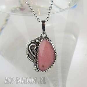 naszyjniki lili - naszyjnik z różowym opalem, naszyjnik, różowy, retro