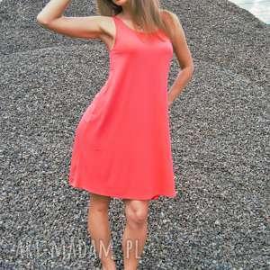 sukienka coral summer dress koralowa na ramiączkach, zwiewna sukienka