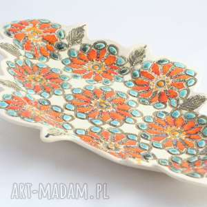 ceramika półmisek dekoracyjny ceramiczny duży pomarańczowo niebieski