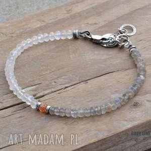 kamień księżycowy, słoneczny i labradoryt - bransoletka, srebro
