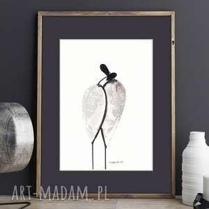 Prezent grafika na ścianę A4, rysunek tuszem, plakat miłość, czarno-biała