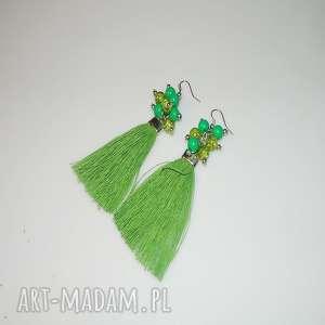 zielone lniane chwosty, lniane, lniane-kolczyki, unikatowa-biżuteria