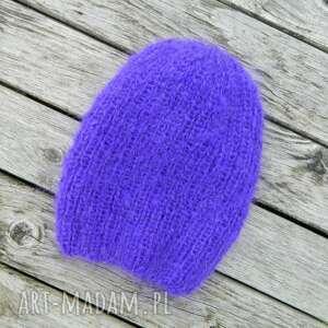 Czapka dla fanki fioletu mohair lekka czapki aga made by hand