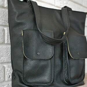 juti bags duża torba na ramię z kieszeniami, niebanalna torebka, skórzana