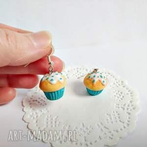 Kolczyki babeczki waniliowe z lukrem i posypką - Hand Made