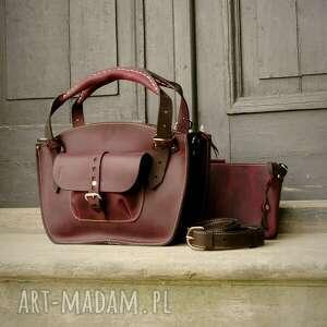 skórzana ręcznie wykonana torebka kuferek rozmiar mw kolorze sliwka/czarny