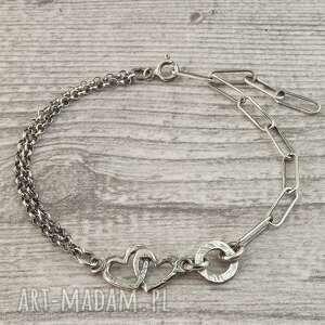 bransoletka ze srebra dwa serca, srebrna, z sercem
