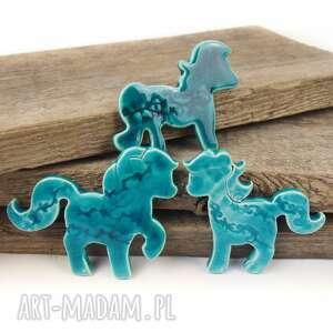 Magnesy konie 3 szt ceramiczne turkusowe artlantyda magnesy
