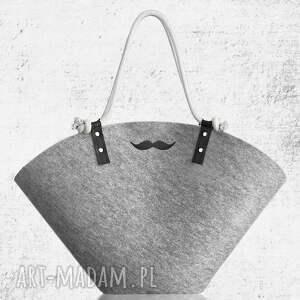 mustache basket xxl, mustache, wąsy, koszyk, filcowy, plażowy, zakupy