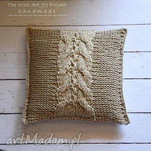 dziergana poszewka, poduszka, beż, bawełna, prezent, dodomu