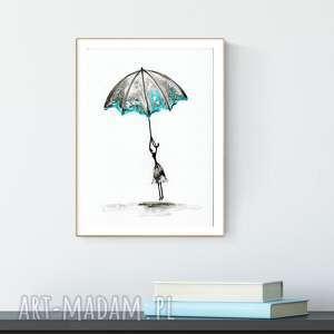 obrazek malowany ręcznie a4, abstrakcja, turkus, plakaty do salonu