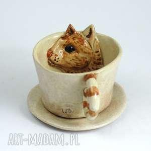 ceramika ceramiczna filiżanka kubek z kotem-bladoróżowa, kubek, filizanka, zkotem