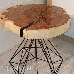 stoły stolik drewniany z żywicy epoksydowej - plaster klonu, drewno