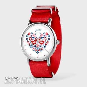 zegarek, bransoletka - folkowe ptaszki czerwony, nato