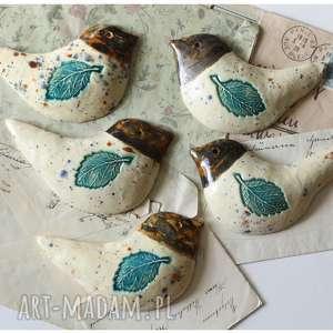 wylegarnia pomyslow zestaw 5 kuchennych ptaszków na ścianę, ceramika, ptak