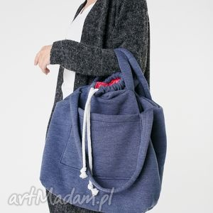 handmade na ramię dużatorba dzianinowa jeansowo-malinowa