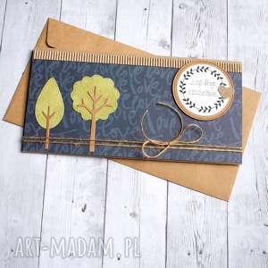 kartka - kopertówka drzewka granat, ślub, ślubna, drzewa
