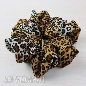 handmade ozdoby do włosów gumka scrunchie dzika pantera lampart w centki