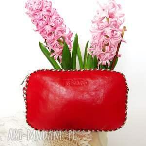 torebka bransoletka z obszyciem koralików, prezent, leather, polska