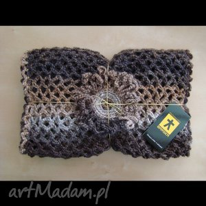 ręcznie robione szaliki wielki szal ażurowy w brązach