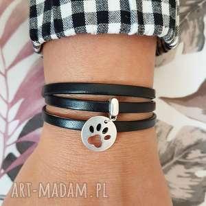 handmade bransoletka skórzana magnetoos triple paw charms black