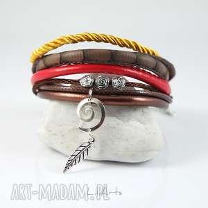 ręcznie robione bransoletka - liść rzemienie, brązowa, czerwona