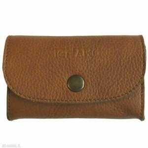 portfele portmonetka skórzana mini z zatrzaskiem brązowa