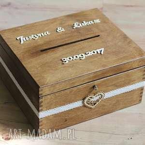 Pudełko z kluczykiem - koronka sercem ślub biala konwalia drewno