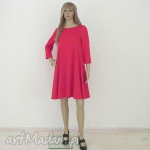 7 - sukienka czerwona, sukienka, rozkloszowana, trapez, elegancka, mini, sukienki