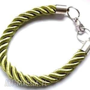 ruda klara prosta zielona sznurkowa bransoletka, sznurek, klasyczna, prosta, damska