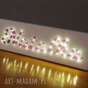 ręcznie robione pokoik dziecka neon obraz led z imieniem pastelowy ombre personalizowany