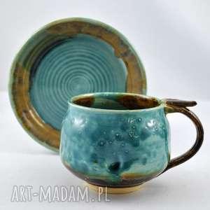 Filiżanka z talerzykiem JT3, filiżąnka, talerzyk, ceramika, unikatowe, użytkowe,