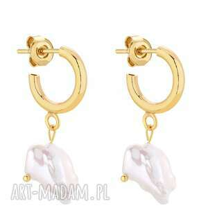 złote półkola s z naturalnymi perłami, eleganckie, perły